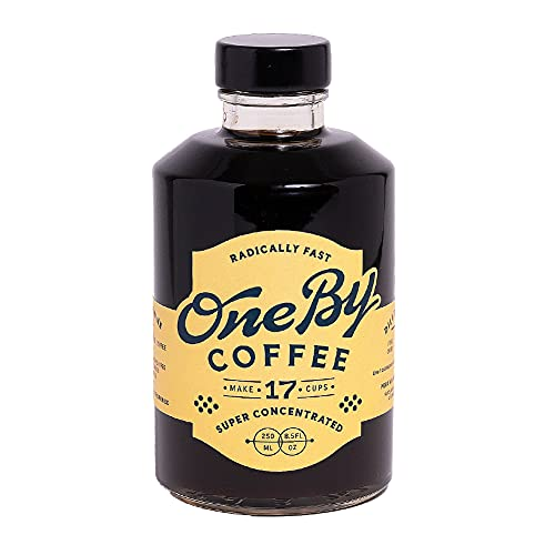 OneBy Coffee | Make Cold Brew, Hot or Iced Coffee in Seconds | 17 Cups per Bottle with 24x Liquid Coffee Concentrate | Single Origin Peruvian Coffee Beans (1 Count, 8.5oz Bottle)