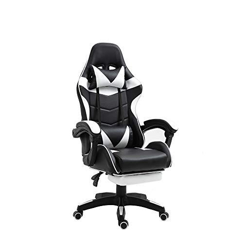 TTT Silla de Oficina PC Gaming Videojuegos Racing Escritorio Sillon Gamer Despacho, Negro-Blanco, Universal