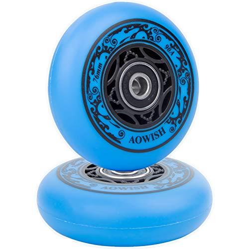 AOWISH Ripstik Wheels [2er Pack] 76 mm Ripstick Wheels 90A Ripsurf Caster Board Ersatzrad mit vorinstallierten Kugellagern ABEC 9 (blau)