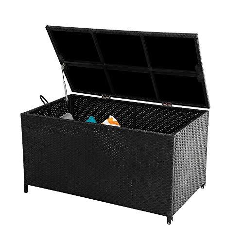 DREAMO Outdoor Garden Storage Box Waterproof Rattan Portable Storage Box Poly Rattan Wicker 320L Black