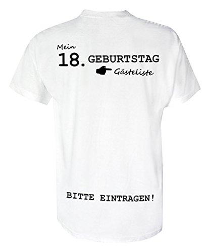 T-Shirt Geburtstag- Gästeliste 18 Jahre - Rundhals - Birthday, Geburtstagsgeschenk, Shirt | 100% Baumwolle | Unisex - T-Shirt | weiß (L)