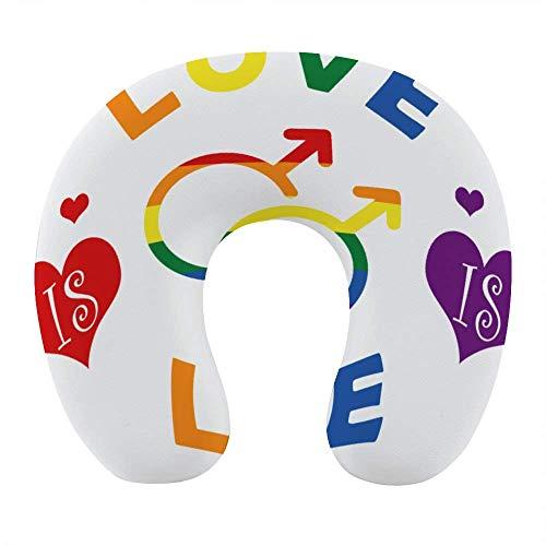 Morbido cuscino da viaggio in memory foam, cuscino per collo a forma di U con rivestimento lavabile supporta il collo e rilascia dolore, LGBT Gay Pride Love