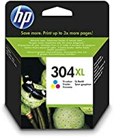 HP 304XL N9K07AE, Tricolor, Cartucho de Tinta de Alta Capacidad Original, compatible con impresoras de inyección de...