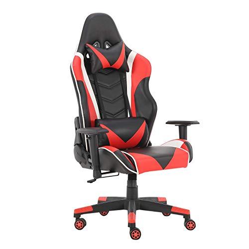 WV LeisureMaster, sedia ergonomica da gaming con poggiatesta e supporto lombare, sedia da lavoro girevole regolabile (nero rosso)
