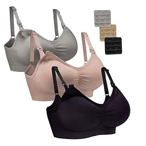 WhiFan 3Pack Allaitement Soutien-Gorge Soutien-Gorge sans Couture maternité Bralette Femmes de Sommeil sans Allaitement Soutien-Gorge (M, 3Pack(Black+Nude+Gray))