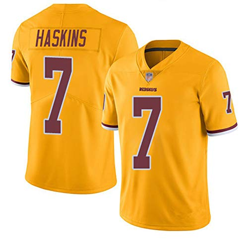 JUNBABY Rugby Trikot, Redskins 7# Dwayne Haskins, Fußball T-Shirt Männer Frauen-Yellow-S