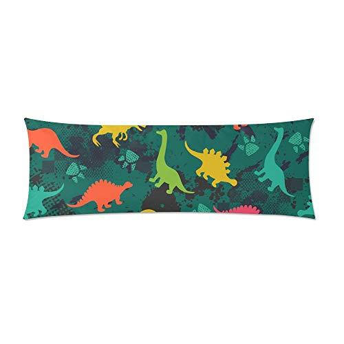 CiCiDi Seitenschläferkissen Kissen-Bezug 40x145 cm Bunte Dinosaurier Gewohnheits Wurfs Kissen Atmungsaktives Kissenhüllen mit Reißverschluss Baumwollen und Polyester