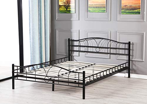 King of Dreams - Marco de cama para colchón de metal moderno + sólido somier de metal – Adultos o niños – Color negro – Grosor del metal +/- 0,75 mm, Negro , 140 x 190 cm