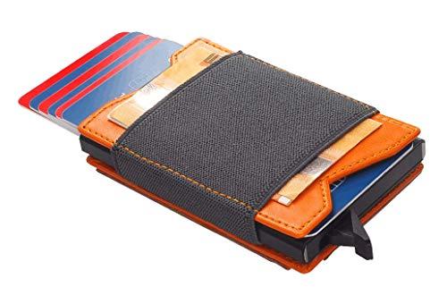 pul pularys Mini-Geldbörse 9,5 x 6 x 2 cm, aus Leder, mit Power Bank 2500 mAh, elastischer Gummistreifen zum Festhalten von Geldscheinen, Münzenfach mit Druckknopf, Mini-USB, USB-C und iPhone Adapter