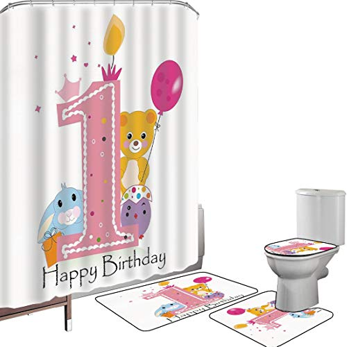 Shower Curtain Set Bathroom Accessories Carpet Set 1st Birthday Decorations Bath Mat Contour Rug Toilet Cover Princess Girl Party Cake with Candle Teddy Bear Print,Light Pink and Hot Pink Non-Slip Wat