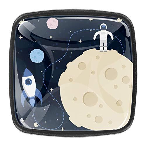 4 pomos de cajón de cristal de 30 mm para armario de cocina, armario de casa, luna, espacio de fondo
