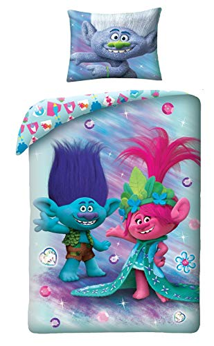 Halantex Trolls - Juego de cama reversible (2 piezas, 100% algodón, funda nórdica de 140 x 200 cm y funda de almohada de 70 x 90 cm)
