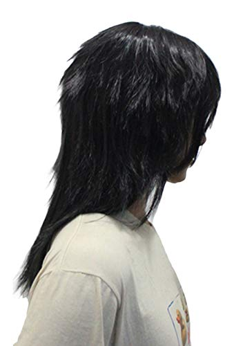 Hellsing Black Wig Cosplay Accessory Halloween Alucard Mid-Length Straight Hair Costume Props 35cm Heat Resistant Fiber