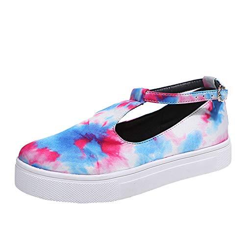 Sandali da donna estivi con tacco a cuneo, con fibbia, sandali estivi, eleganti e piatti, sandali da spiaggia con tacco alto, Multicolore (multicolore), 38 EU