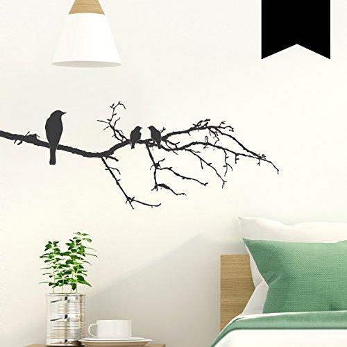 Wandkings Wandtattoo 3 Vögel auf AST 50 x 19 cm schwarz - erhältlich in 33 Farben