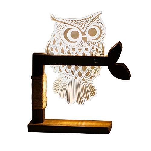 Dimmbar LED Tischleuchte - 3D Visual Acryl Eule Deco Holz Nachttischlampe - Warmweiß Nachtlicht - Geschenk für Kinderzimmer Schlarfzimmer