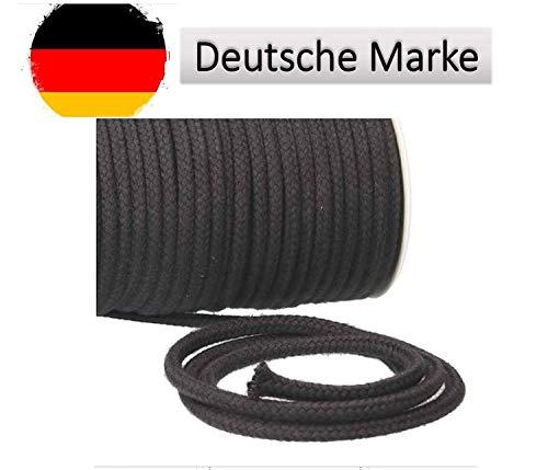 Turnbeutelliebe® Kordel 100% Baumwolle 8mm breit - für Turnbeutel, Taschen & Hosen - zum nähen - viele Farben und Längen - geflochten - Schnur - Seil - Bastelschnur - Band (anthrazit dunkelgrau, 10)