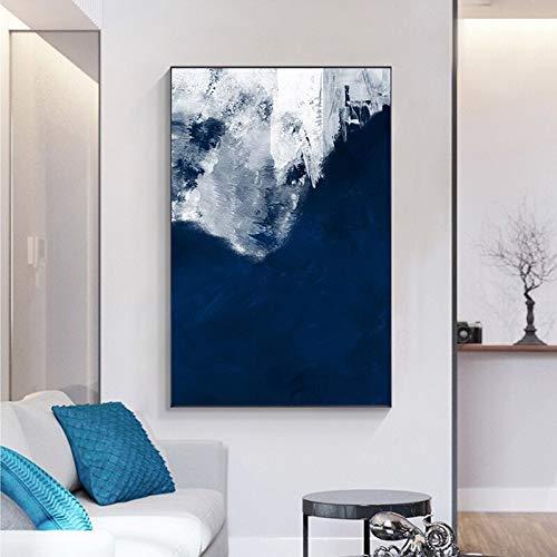 yaoxingfu Kein Rahmen Abstrakte Blaue und weiße Traum Leinwand ng Moderne Poster drucken Wandbilder für Wohnzimmer Interior Designer Nordic 30x45cm