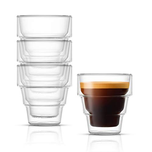 JoyJolt Pila Double Walled Espresso Glasses, Set of 4 Espresso Cups 3 Ounce Capacity. Stackable Thermal Clear Glass Cups, Ideal Fit for Espresso Machine and Coffee Maker