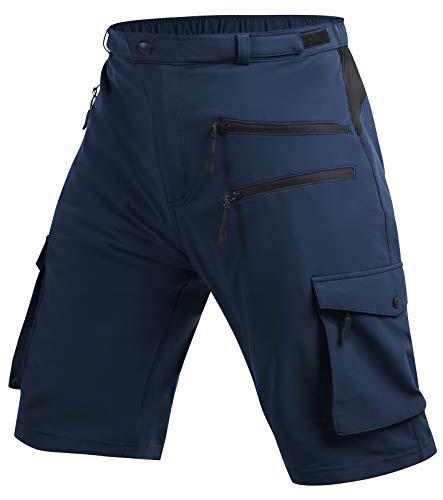 Cycorld MTB Hose Herren Radhose, MTB Shorts Atmungsaktiv Farradhose Hose Herren Outdoor Bike Shorts 2021 Version (DK Navy Ohne Unterwäsch, L)