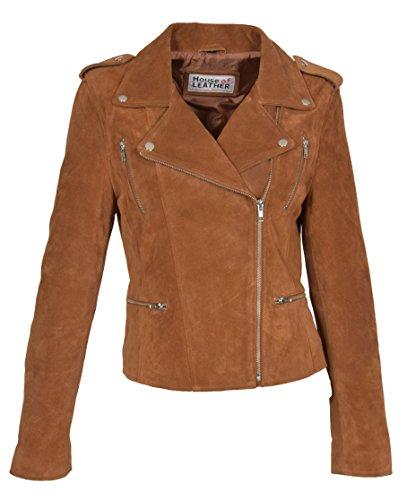 Femmes Suede Véritable Bronzer Veste De Motard Filles X-Zip Ajusté Manteau en Cuir De Créateur - Rusty (L - EU 40)