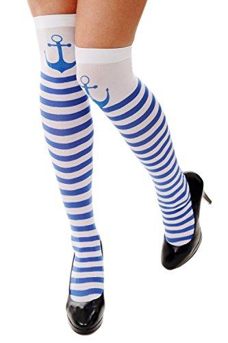 Dress Me Up - W-034 Karneval Fasching Strümpfe Ringelstrümpfe Overknees Blau Weiß Gestreift Anker Seemmannsbraut Matrosin Z178