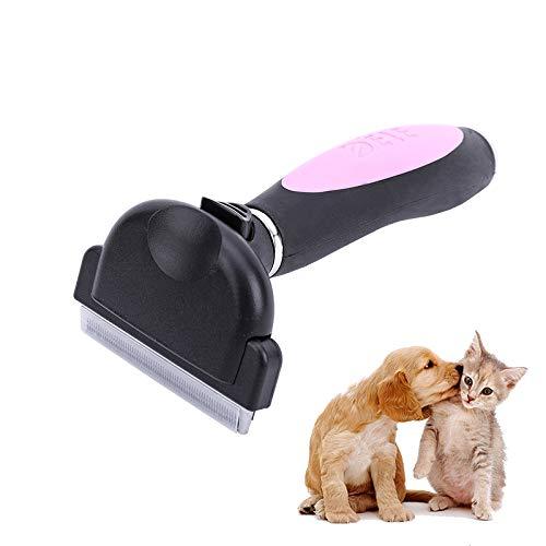 LKU Huisdierkamkam, automatische hondenhaarverwijderaar, kattenborstel, kamgereedschap, afneembare tondeuse voor huisdier, roze, maat M