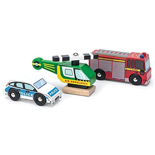 Le Toy Van - Juego de vehículos de Emergencia de Madera