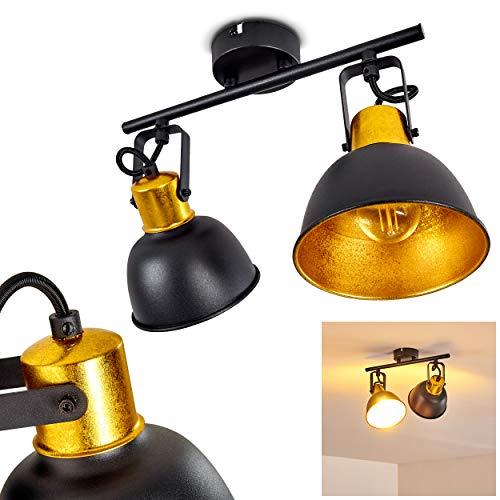 Deckenleuchte Borik, Deckenlampe aus Metall in Schwarz/Gold, 2-flammig, mit verstellbaren Strahlern, 2 x E14-Fassung max. 25 Watt, Spot im Retro/Vintage Design, für LED Leuchtmittel geeignet