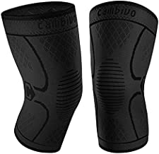 CAMBIVO 2 Pack Knee Brace, Knee Compression Sleeve for Men and Women, Knee Support for Running, Workout, Gym, Hiking, Sports (Black,Small)