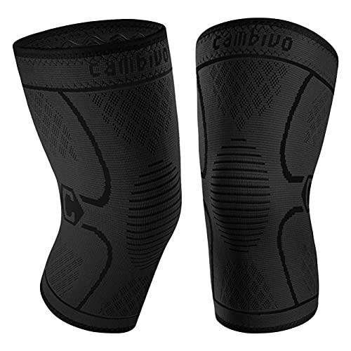 CAMBIVO 2 Pack Knee Brace, Knee Compression Sleeve for Men and Women, Knee Support for Running, Workout, Gym, Hiking, Sports (Black,Medium)