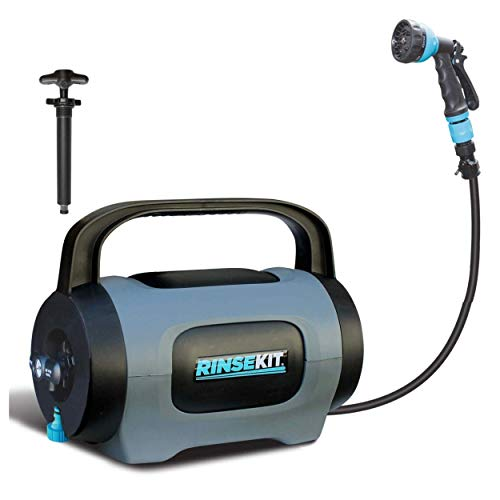 RinseKit POD   Portable Shower with Hand Pump   1.75 Gallons of Hot or Cold Water   High Pressure Spray is Great for Camping, Surfing, Pets, Sports and a Quick Shower