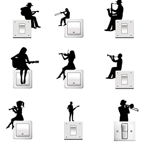 Vinilo decorativo enchufes o llaves de luz. 9 personajes de música con instrumentos musicales.