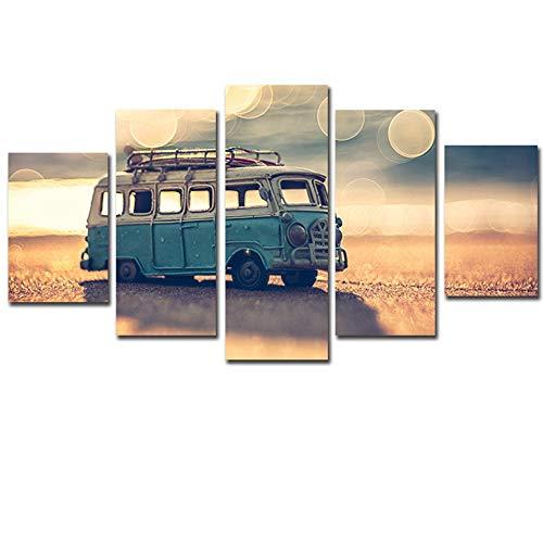 SDBY 5 canvasfoto canvas schilderkunst muurkunst wooncultuur frame 5 stuks Sunshine Beach bus model voor de woonkamer gedrukt landschap afbeeldingen
