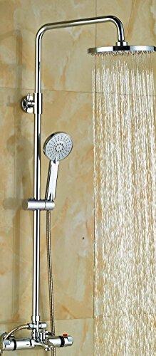 Electroplating Retro Faucet Venta al por mayor y al por menor de lujo acabado cromado de lluvia grifo conjunto de válvula termostática W/pulverizador de mano, transparente