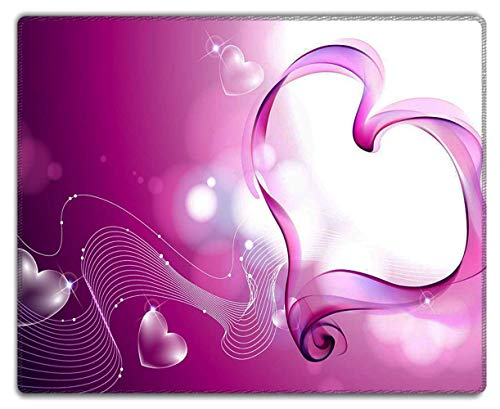 Meffort Inc Mouse Pad with Stitched Edges & Non-Slip Base, Smooth Silk Surface Gaming Mousepad - Pink Heart