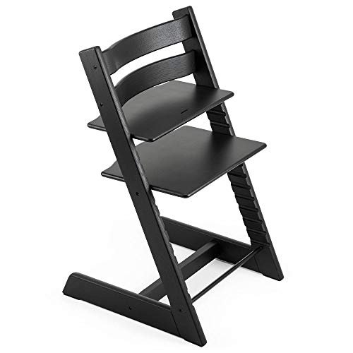 TRIPP TRAPP® Chaise Haute – Chaise haute avec dossier pour bébé ergonomique et évolutive pour toute la vie – Couleur: Chêne Noir