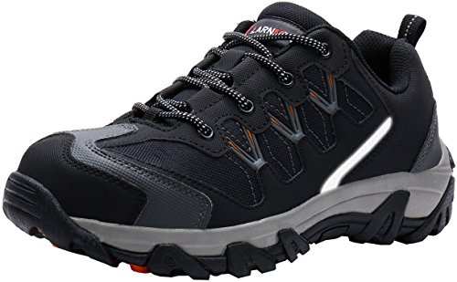 LARNMERN Sicherheitsschuhe Arbeitsschuhe Herren, Sicherheit Stahlkappe Stahlsohle Anti-Perforations Luftdurchlässige Schuhe, Grau L111, 45 EU