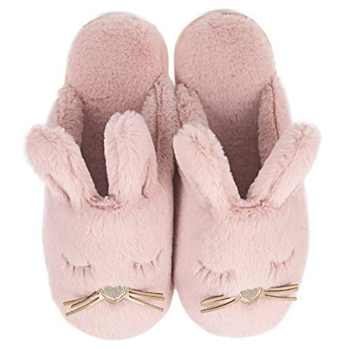 Caramella Bubble Fuzzy Bunny House Slippers for Women Fluffy Animal House Shoes for Bedroom Pink, Size 6-7 (37-38)