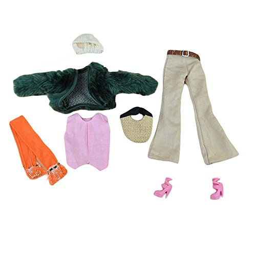 Blancho 7 Stück Puppenkleidung Puppe Outfits - Elegante Fake Pelzmantel Set mit Handtasche