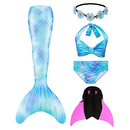 RIKILIO 5 Piezas niñas Cola de Sirena para Nadar 130 cm Traje de baño de Sirena con monoaleta y Corona de Flores, Disfraz de Cosplay para niños, Traje de baño para niños con Aleta de Sirena