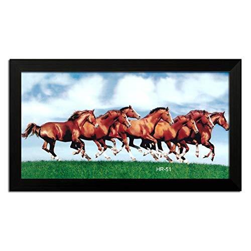 LION CRAFT 7 Horse Photo Laminated Frame (Frame Color Black, Print size-12x24 inch) Genuine matterial-NO-07