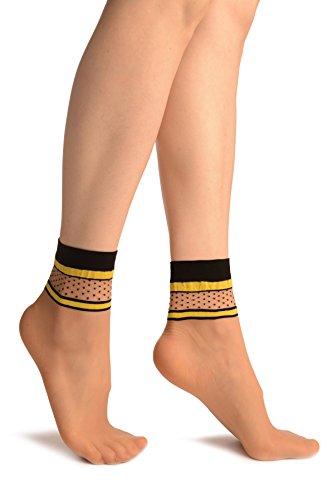 LissKiss Beige With Yellow Stripes und Black Dots Ankle High Socks - Beige Socken, Einheitsgroesse (37-42)