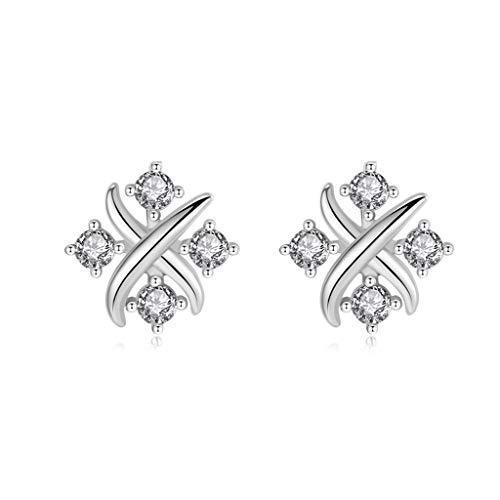 OMING Arete Pendientes Plata Femenina Pendientes Pendientes de Plata Pendientes Temperamento Pendiente de Perlas de Cristal (Color : A)