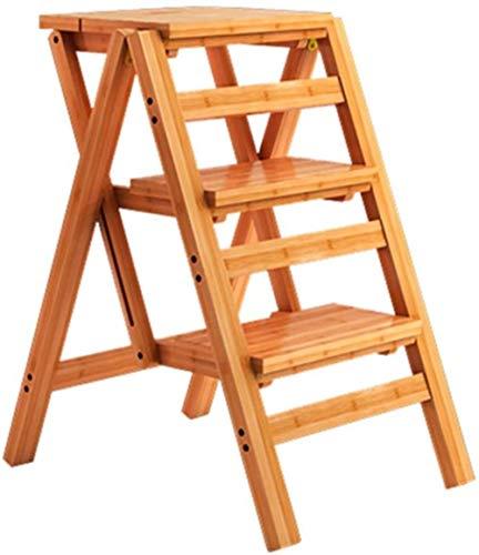 Taburete plegable con 3 pisadas, escalera de madera, escalera de escalera para el hogar, taburete alto, banco de herramientas de jardín (color: E1)
