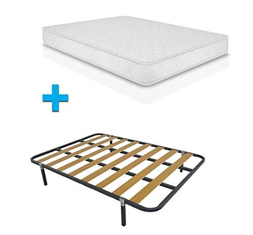 Duermete Cama Completa Colchón ConfortVisco Reversible + Somier Basic con 4 Patas 27cm, Madera, 150 x 190
