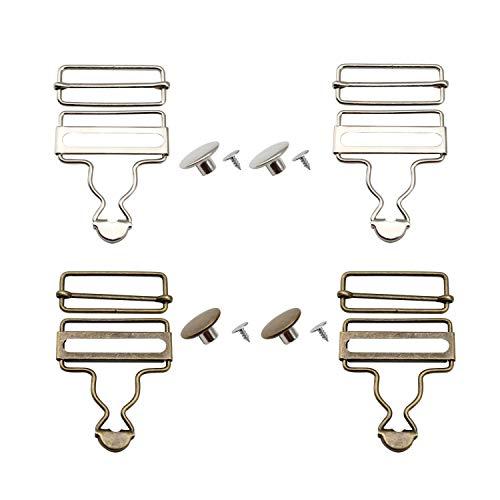 YFaith 4 Sets Latzhosenschnallen, Metall Trägerschnallen, Hosenträger Verschluss, Jeansknöpfe, Rechteckigen Schiebeverschlüssen, für DIY Art Sewing Clothing Craft (Silber, Bronze)