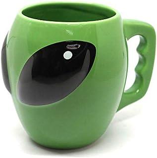 Nrpfell Anime Alien Coffee Mug,Green Alien Ceramic Mug, Personality Funny Fun Gift Cups