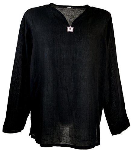 GURU SHOP Yoga Hemd, Goa Hemd, Leichtes Freizeithemd, Schlupfhemd, Herren, Schwarz, Baumwolle, Size:XXL, Hemden Alternative Bekleidung