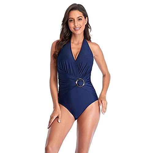 FAYHRH Traje de Baño de Mujer de Dos Piezas con Traje de baño de una Pieza con Cuello Halter y Escote en V Profundo Color Puro Ropa de Playa Fina-Blue_S